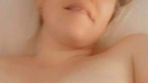 Girl with big perky tits masturbates with dildo