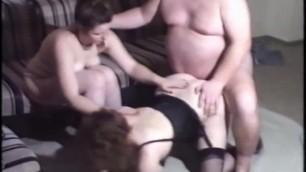 Old ugly german fucks girl in black nylons