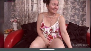 Passionate granny, fully nude tits, hairy pussy