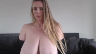 Lovely big SAGGY MILF boobs 2x the size of her head!