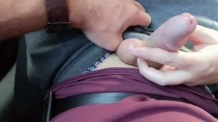 Risky Handjob in Taxi - Did the driver see us?